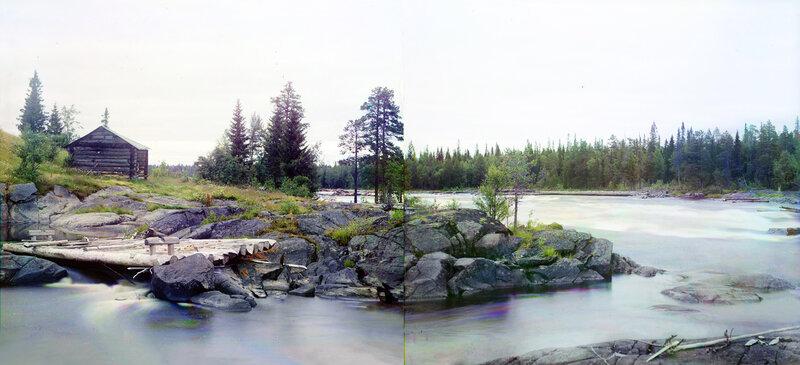 Панорама реки Выг перед слиянием с Ондой. 1916 г. Прокудин-Горский