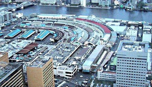 Рыбный рынок Цукидзи в Токио.