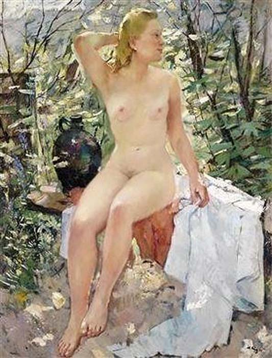 Female nude seated on a garden bench, (Akt mit dunklem Tonkrug)1944 by Anton Lutz, (1894 - 1992) Austria