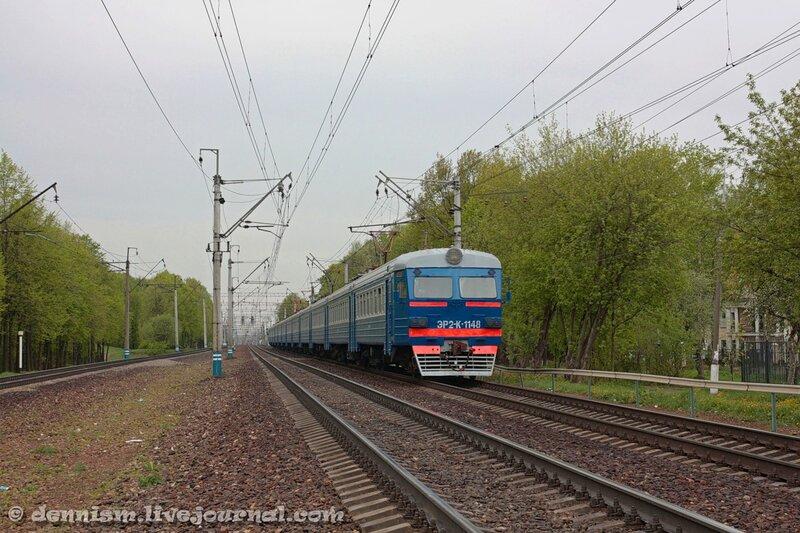 Электропоезд ЭР2К-1148, участок Строитель - Мытищи.