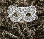 "Кружевная карнавальная маска ""Белая кошка"""