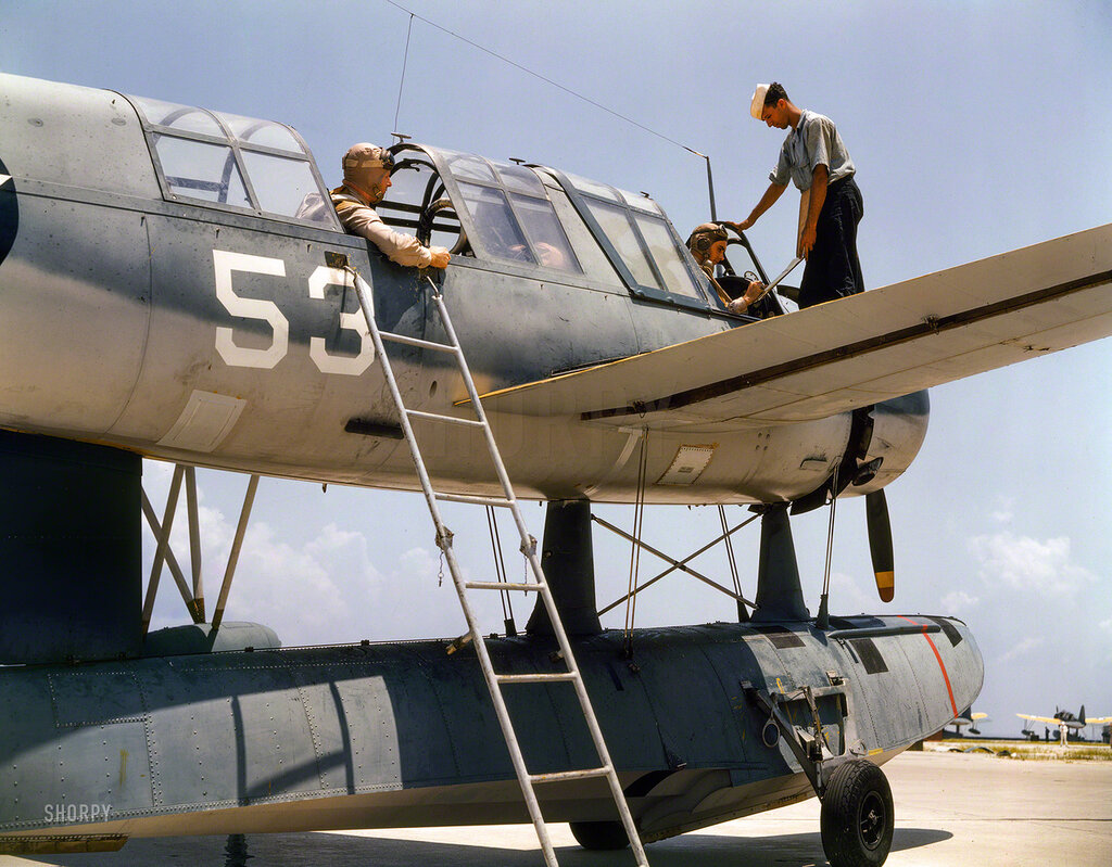 August 1942. Aviation cadets in training at Corpus Christi, Texas, Naval Air Base