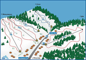 Яблуница. Схема лыжных трасс в с. Яблуница. Фото сайта www.ski.lviv.ua.