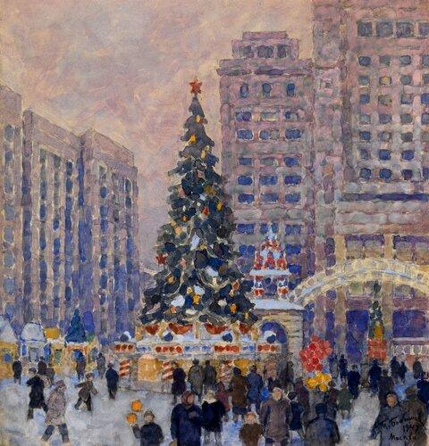 Михаил Павлович Бобышов (1885-1964) Новогодняя ёлка на Манежной площади, 1947.