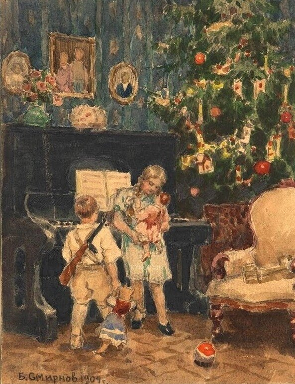 Борис Смирнов. Рождественская елка в богатом доме. 1904