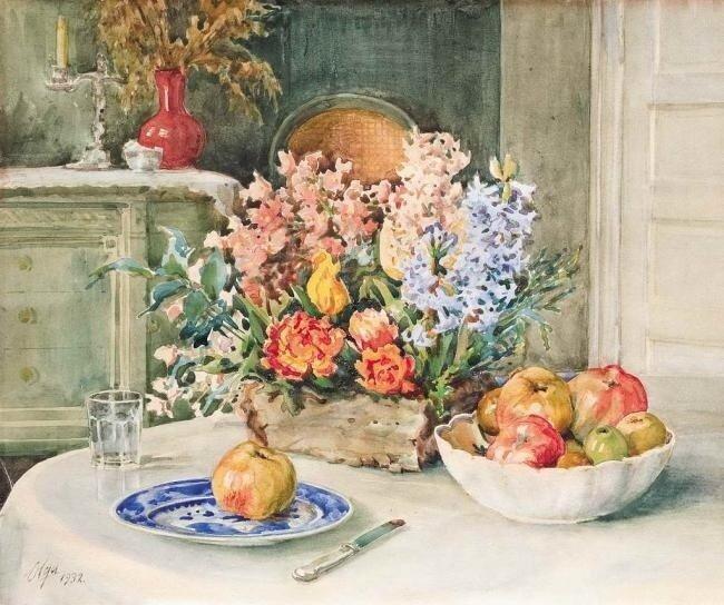 Великая княгиня Ольга Романова. Натюрморт с цветами и яблоками