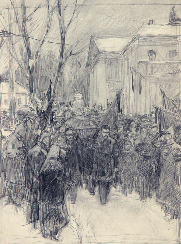 Владимир Александрович Серов. Похороны Ленина, 1950