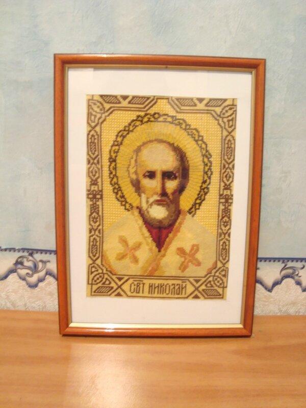 вышивка крестиком-Икона Николая Угодника.