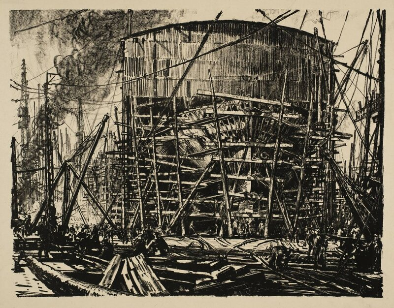 Building Ships: On the Stocks circa 1917 by Sir Muirhead Bone 1876-1953