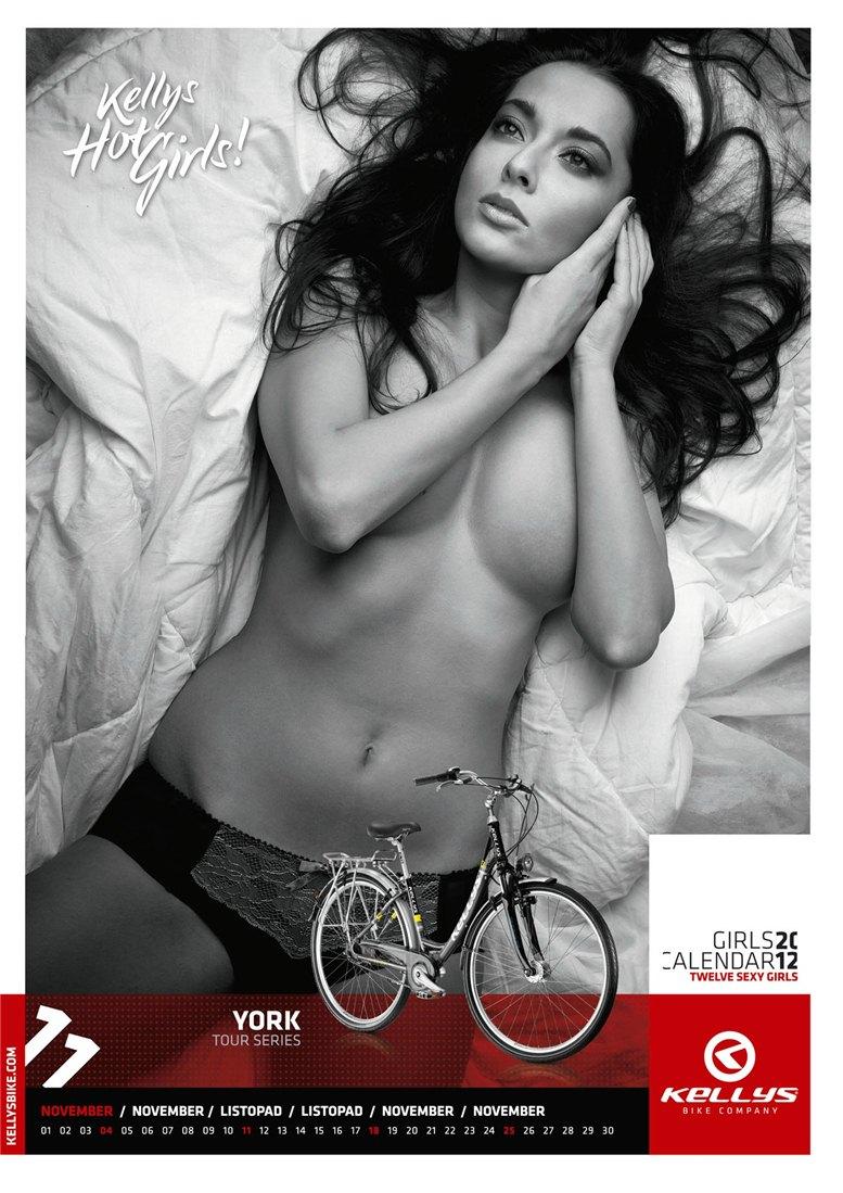 Обнаженные девушки в календаре производителя велосипедов Kellys на 2012 год - ноябрь