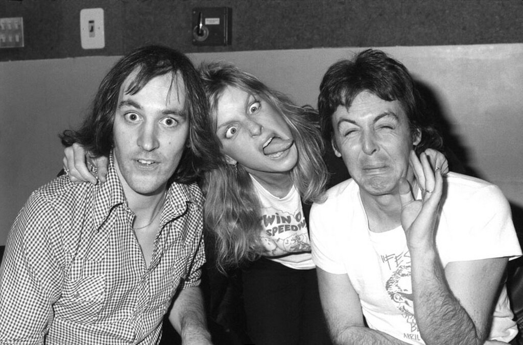 Chris Thomas, Linda and Paul, Abbey Road Studios, London, 1977