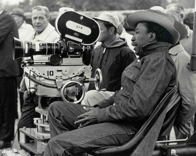 "Gordon Parks filming ""The Learning Tree"", Fort Scott, KS, 1968. – Photograph by Norman E. Tanis."