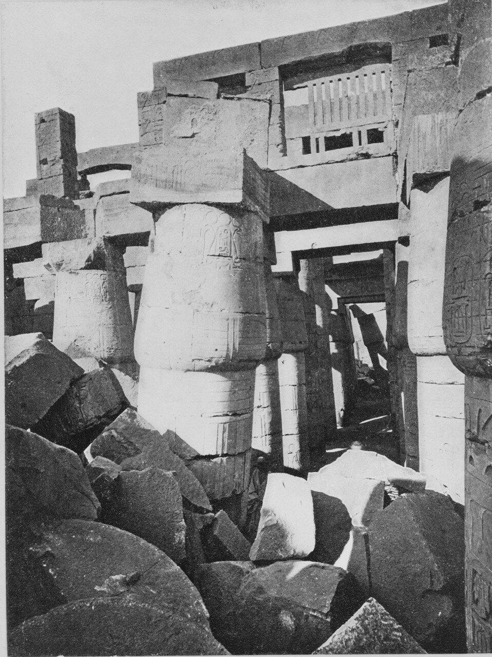 Карнак (Фивы). Гипостильный зал. 1858