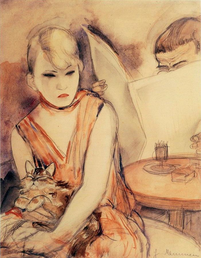 Дама с котом.Маммен Жанна 1890-1976);