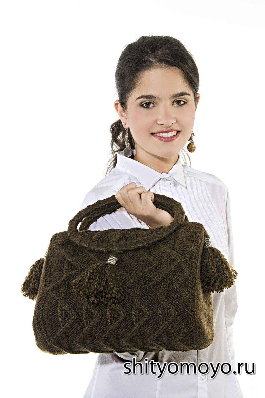 fcfad5b356cd Коричневая сумка с подвесками, связанная спицами. Описание и схемы ...