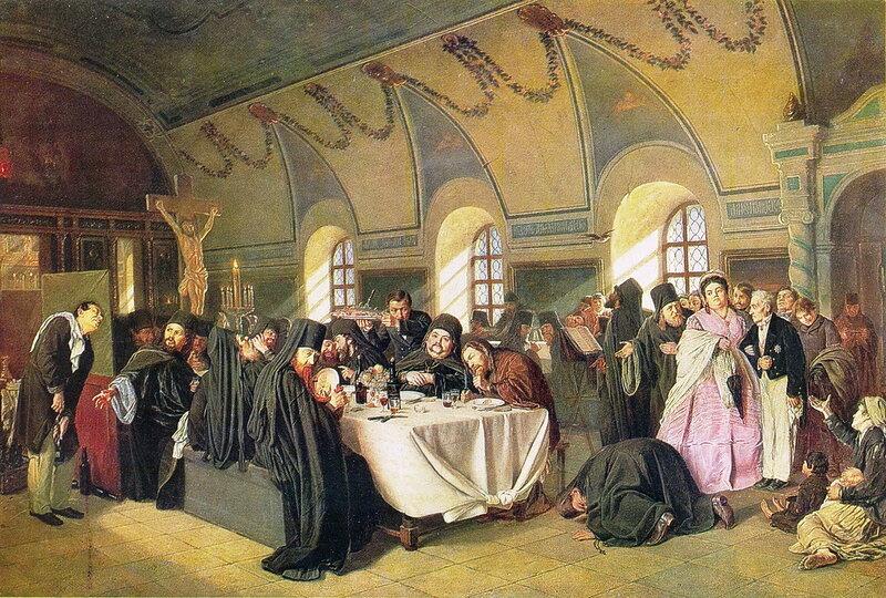 Василий Перов 1834 - 1882. Монастырская трапеза. 1876
