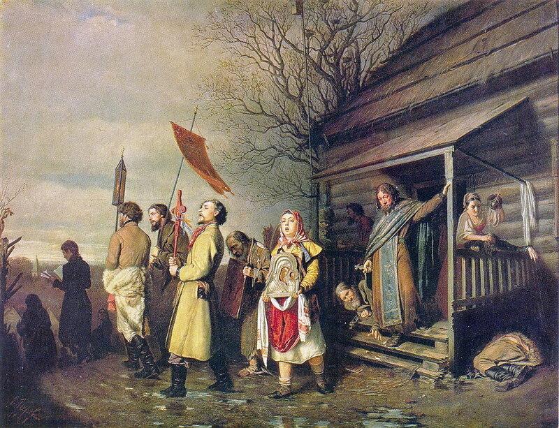 Василий Перов 1834 - 1882. Сельский крестный ход на Пасхе. 1861