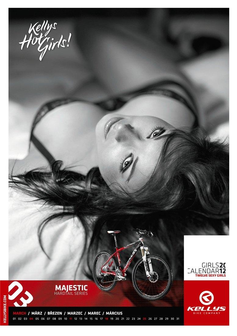 Обнаженные девушки в календаре производителя велосипедов Kellys на 2012 год - март