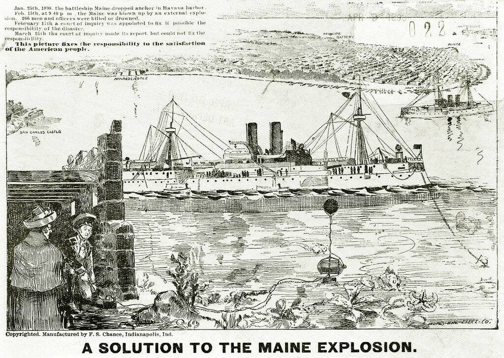 A Solution to the USS Maine Explosion. Wood engraving shows two men about to blow up the US Navy battleship Maine with rigged underwater mine. F.S. Chance, Indianapolis, Indiana, 1898.