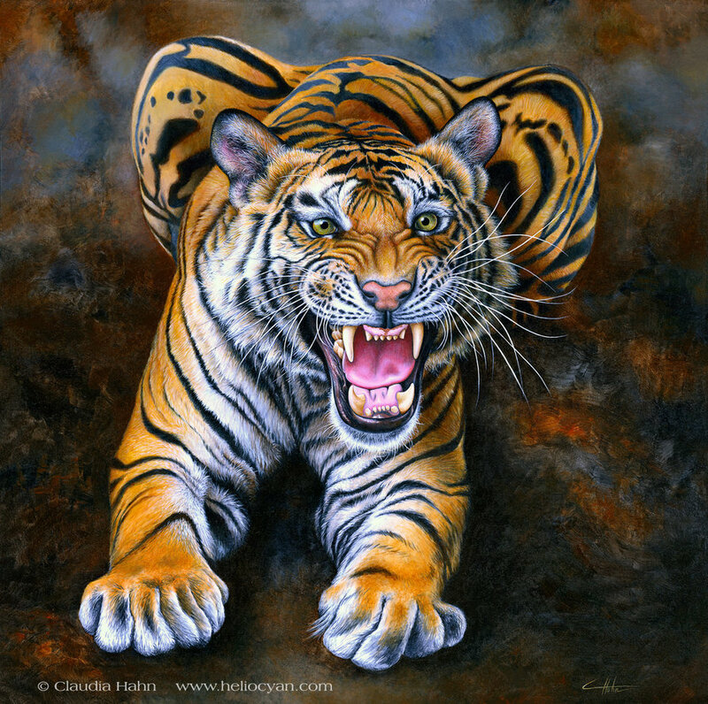 """Схема вышивки  """"девушка и тигр """" ."""