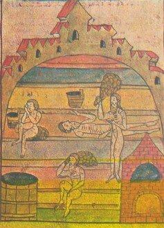 Парильня в каменной бане (миниатюра из рукописной книги)