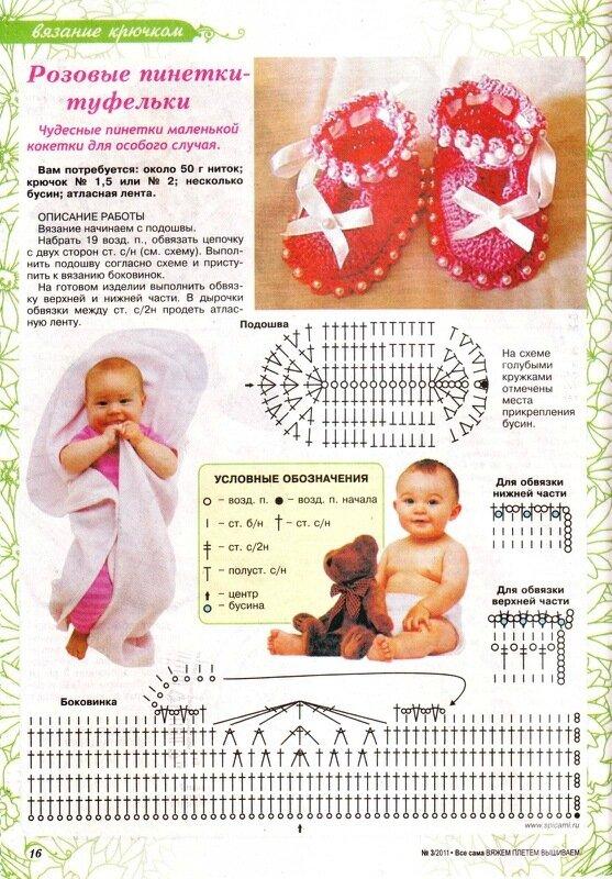 Вязанье для новорожденных пинетки крючком 603