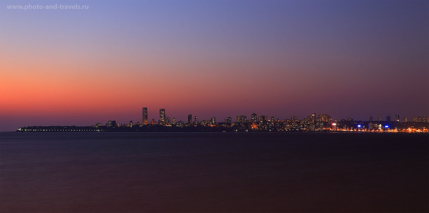 30. Фотографии с набережной Марин Драйв (Marine Drive Jogging Track) в Мумбаи. Отчеты туристов о путешествии по Индии. (В=30 секунд, ISO 100, ФР-40мм, f/6.3)