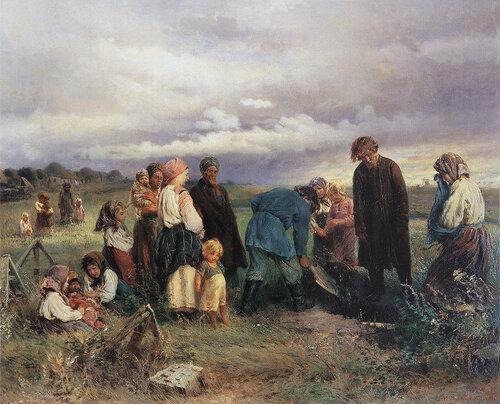 К. Е. Маковский. Похороны ребёнка в деревне. 1872