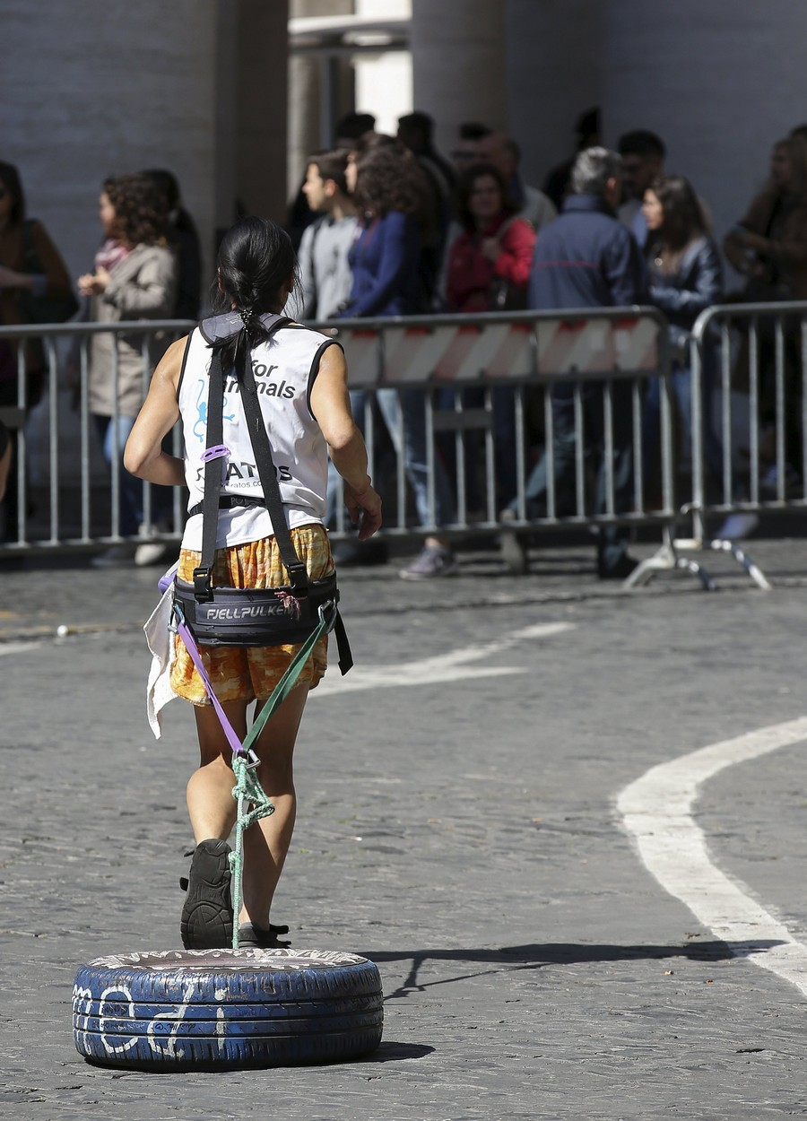 "A competitor pulls along a car tyre as she takes part in Rome marathon in front of Saint Peter""s square at the Vatican"