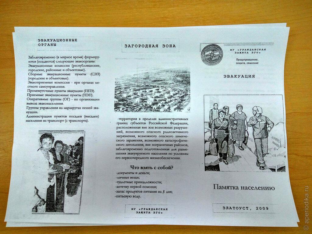 Памятка по действиям населения и персонала во время ЧС, Златоуст 2009