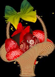 корзинки с пасхальными яйцами