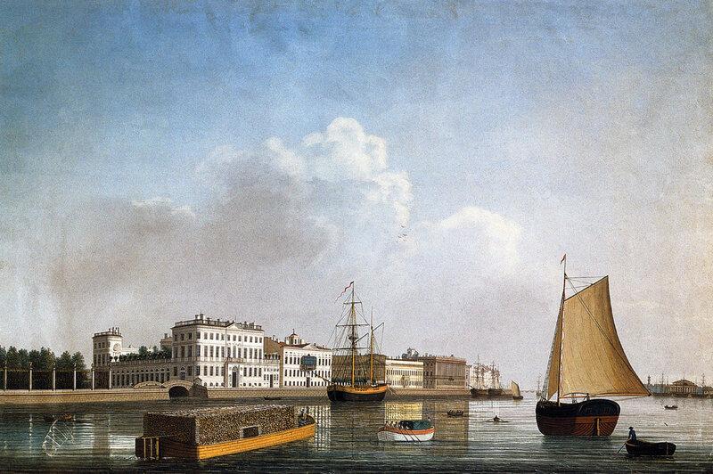 Вид на дом Бецкого и Летний сад с Петербургской стороны