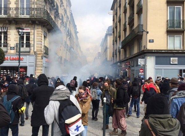 Встолице франции милиция разогнала манифестантов, которые попытались приблизиться кдому премьера