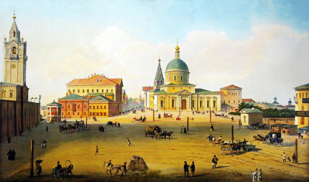 452270 Страстная площадь 1853 Акварель И.И. Шарлеманя. 1853. ГИМ..jpg
