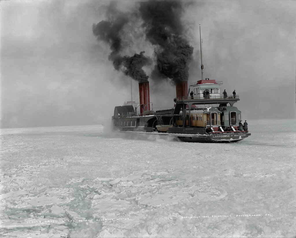 Circa 1905. Grand Trunk car ferry crossing the Detroit River in winter  (colorized)