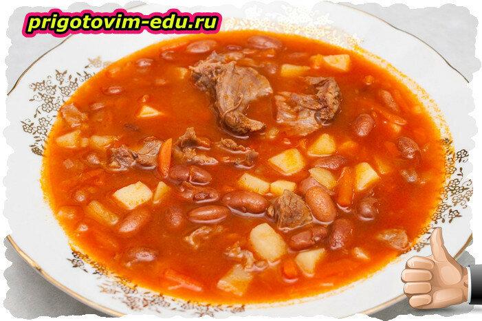 Суп с кроликом и фасолью
