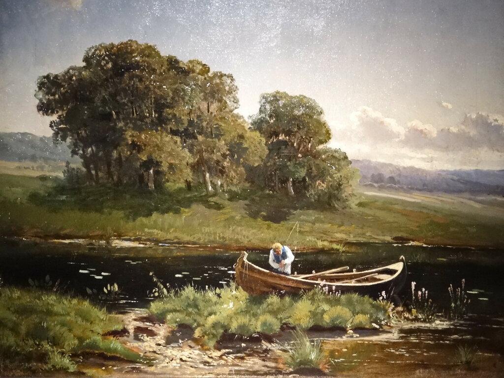 """""""Летний пейзаж с рыбаком"""" Васильев Ф.А. 1868г."""