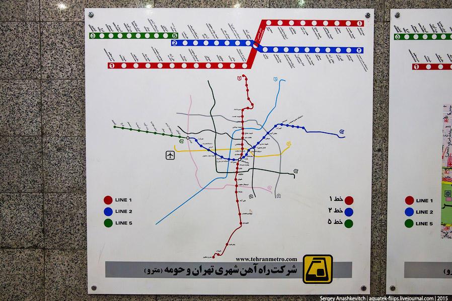23. Метрополитен в Тегеране был открыт в 2000 году, на сегодняшний день насчитывает 5 линий и 94 ста