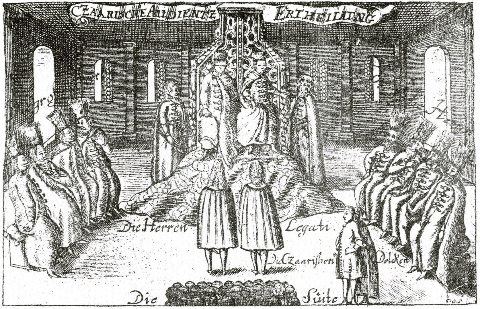 7. Оба царя, сидящие на одном общем троне, принимают послов