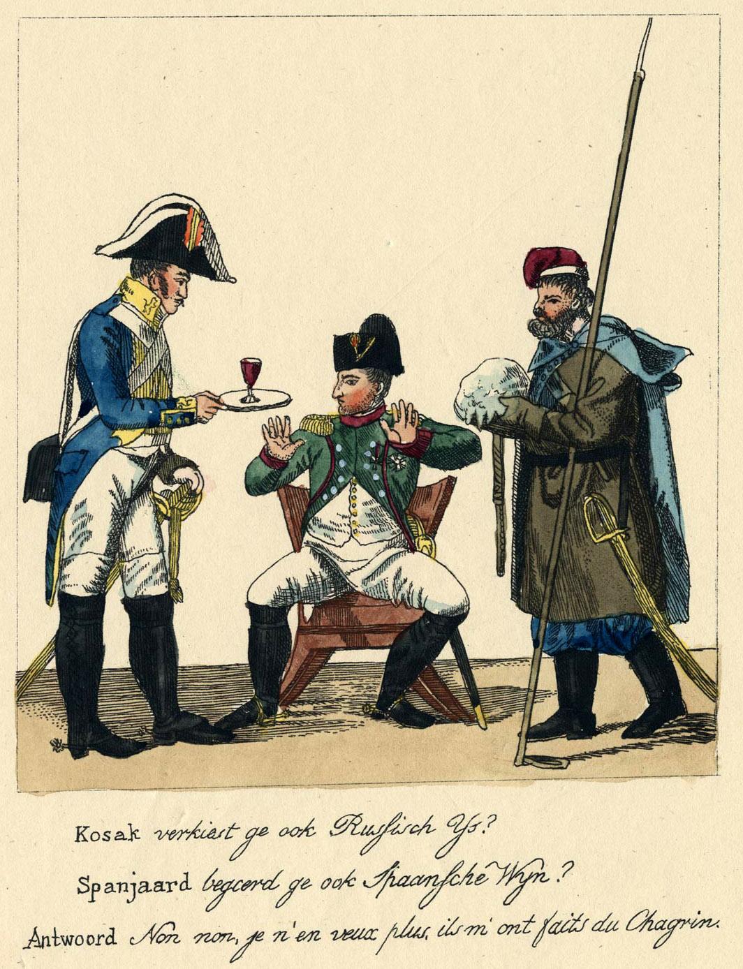 158. Казак подносит Наполеону кусок льда, а испанец рюмку крови