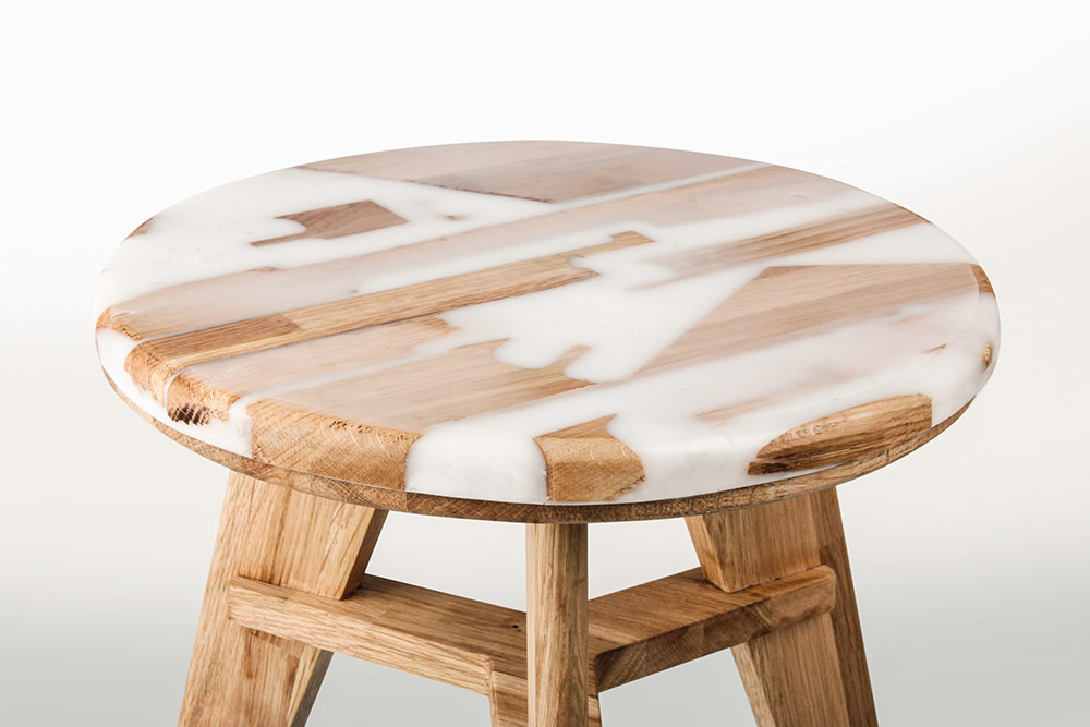 Designed Stools Made from Wood and Resin