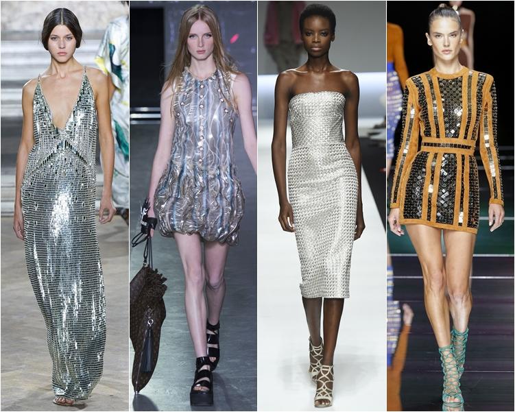модный фасон платья 2016: платья с эффектом металлик