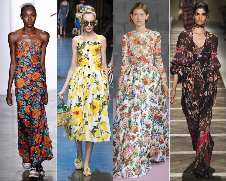 модный фасон платья 2016: платья с цветочным узором