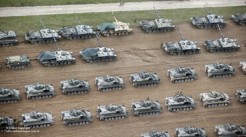 Challanger 2, Warrior and Bulldog vehicles during Exercise TRACTABLE 2016