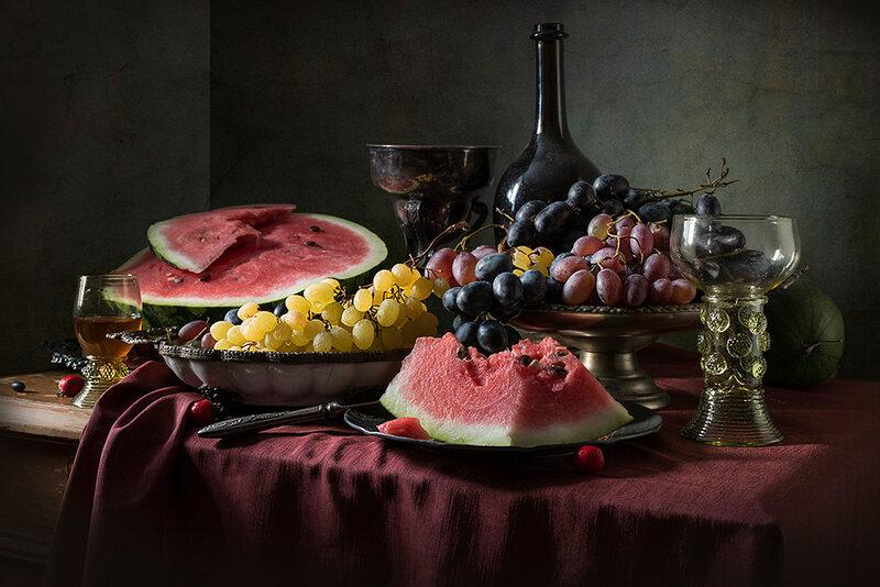 Десерт. Арбуз и виноград