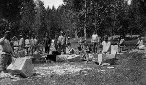 Челябинск. Обработка камня для строительства моста через реку Миасс по улице Рабоче-Крестьянской. 1923