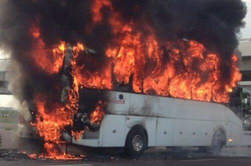 Сгорел автобус следовавший из Греции в Молдову