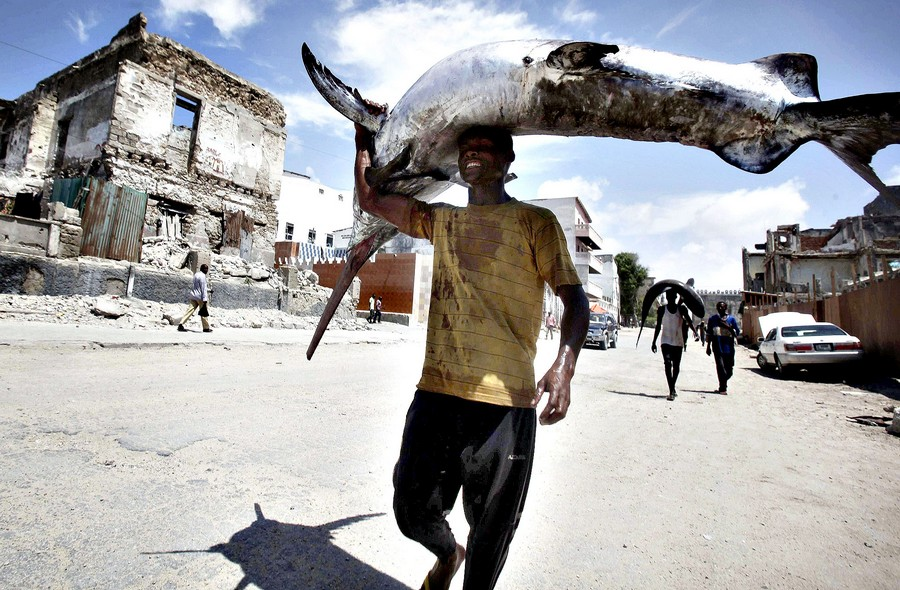 A fisherman carries a swordfish on his head from the Indian Ocea