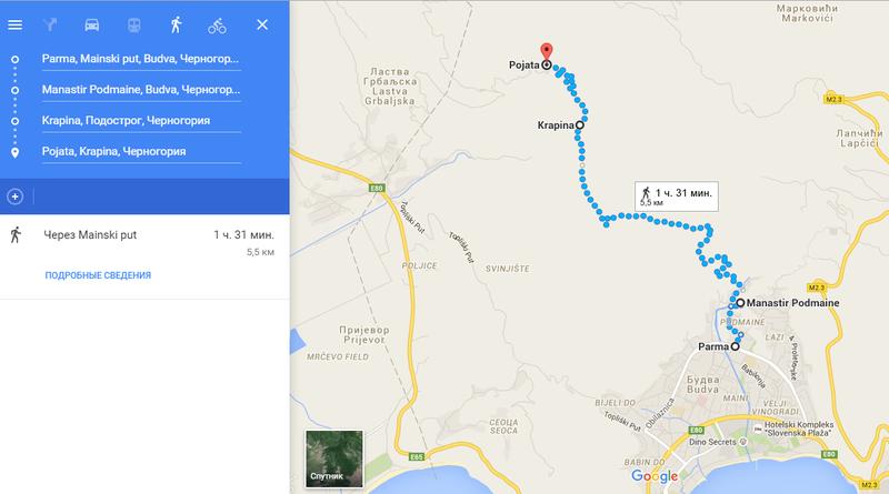 маршрут из Будвы в Рыбняк