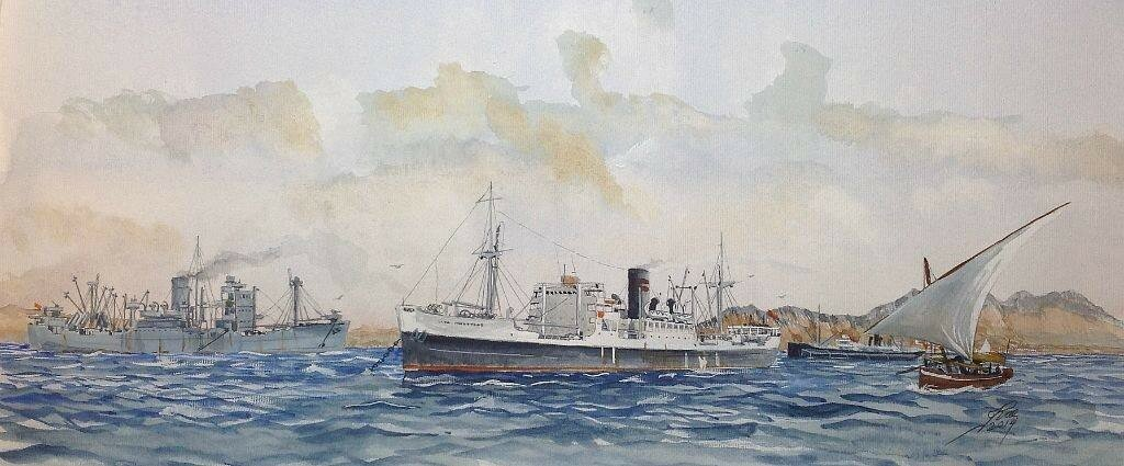 Clan Macdougall in her WW2 'uniform' and her Clan Line colours at Aden.